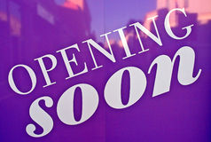 Opening soon. Sign on a new fashion shop, Italy Royalty Free Stock Photography
