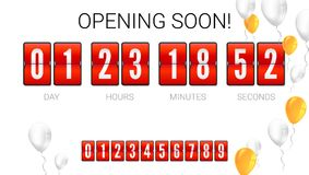 Opening soon, analog flip clock timer, card with flying up inflatable balloons. Template of countdown timer, clock. Counter. Red mechanical clock for countdown royalty free illustration