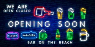 OPENING SOON Beach bar neon sign, bright signboard, light banner. Beach pub logo, emblem and label. Neon text editcoming soon neon. Coming soon neon glowing stock illustration