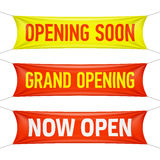 Opening Soon, Grand Opening and Now Open banners Stock Image