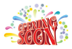 Opening soon graphic. A colorful graphic on an opening soon sign Royalty Free Stock Image