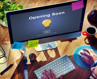 Opening Soon Launch Welcome Advertising Commercial Concept Royalty Free Stock Photo