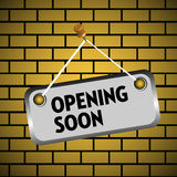 Opening soon plate Royalty Free Stock Photo
