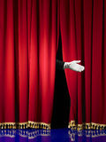 Opening in stage curtain Stock Image