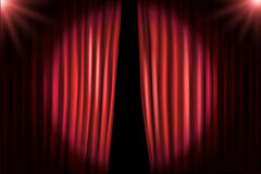 Opening stage curtains with bright projectors Stock Photography