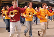 The opening of Target Field. MINNEAPOLIS - MARCH 27: The University of Minnesota band performs at the opening of Target Field, new home to the Minnesota Twins Royalty Free Stock Photo