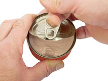 Opening tin Stock Photography
