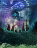 Opening to secrets. High Resolution Illustration Power and mystery composition Stock Images