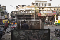 Opening toilet. DELHI INDIA-JUN 10 : public toilet in spice market in old delhi of delhi on june, 10, 2015, india Royalty Free Stock Photos