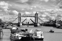The opening of Tower Bridge in London. Black and white photo of Tower Bridge portraits old London in modern times Royalty Free Stock Photos