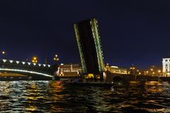Opening a  Troitsky drawbridge. Neva River, Saint Petersburg. August 2017. Night photography Royalty Free Stock Images