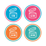 After opening use icons. Expiration date product. Royalty Free Stock Photo
