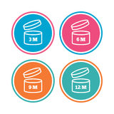 After opening use icons. Expiration date product. Royalty Free Stock Images