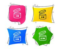 After opening use icons. Expiration date product. Vector. After opening use icons. Expiration date 6-12 months of product signs symbols. Shelf life of grocery royalty free illustration