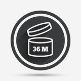 After opening use 36 months sign icon. Expiration date. Circle flat button with shadow and border. Vector Royalty Free Stock Photography