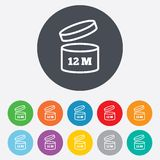 After opening use 12 months sign icon. Expiration date. Round colourful 11 buttons Stock Photography