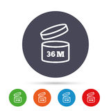 After opening use 36 months sign icon. Expiration date. Round colourful buttons with flat icons. Vector Stock Photography