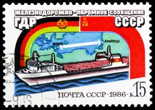 Opening USSR - GDR Railway Ferry, Milestones and Significant Anniversaries serie, circa 1986. MOSCOW, RUSSIA - MAY 25, 2019: Postage stamp printed in Soviet stock photography