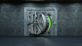 Opening Of The Vault Door In Bank on a green background