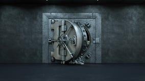 Opening Of The Vault Door In Bank with a lot of money