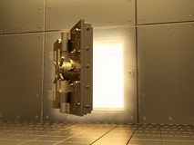 Opening vault and volume light. 3d. Royalty Free Stock Images