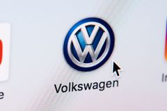 Opening Volkswagen web page. New york, USA - March 8, 2018: Opening Volkswagen  web page on laptop screen close-up. Cursor on computer icon Stock Image