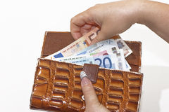 Opening a Wallet Royalty Free Stock Photos