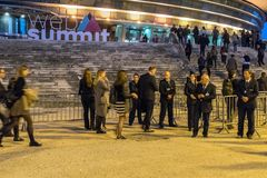 Opening of the Web Summit 2017, Lisbon. The first people arrive at the opening of the Web Summit - The best technology conference on the planet - that is Royalty Free Stock Photography