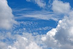 OPENING BETWEEN WHITE CLOUDS REVEALING FLIMSY CLOUDS Stock Image