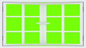 Opening window. 3d animation with an alpha matte