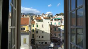Opening Window Morning Italian medieval town. Sanremo, Italy. Apartments and villas for rent. Vacation Europe Travel Tourism stock footage