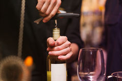 Opening a wine bottle with corkscrew. In a bar royalty free stock images