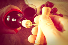 Opening wine Stock Image