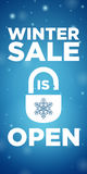 Opening winter sale and Lock with Snowflake Royalty Free Stock Photos