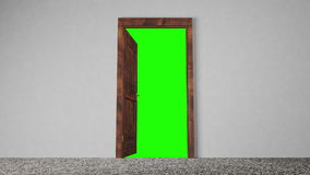 Opening Wooden Door. An animation of a wooden door that opens to reveal a green color for easy keying
