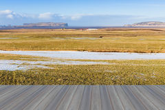 Opening wooden floor,Beauty of glass field during winter Royalty Free Stock Photos