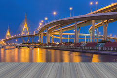 Opening wooden floor, Suspension bridge and overpass ring road Royalty Free Stock Photography