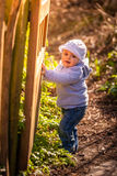Opening the wooden gates stock photography