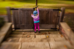 Opening the wooden gates Royalty Free Stock Image