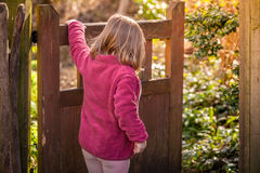 Opening the wooden gates royalty free stock photos