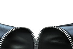 Opening zipper. Very high resolution 3d rendering of an opening zipper on a black leather cloth Stock Images