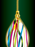 Opening zipper with ribbons Royalty Free Stock Photography
