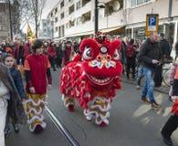 Openings de straatparade van het ceremonie Chinese nieuwe jaar Stock Fotografie