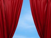 Openings rood gordijn Vrij concept Stock Fotografie