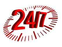 Openingstijdenteken - 24 uren 7 dag Stock Fotografie