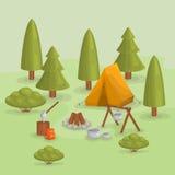 Openlucht achtergrond backpacking Wandeling en het kamperen Stock Afbeelding