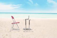 Openlucht bureau bij strand Royalty-vrije Stock Afbeelding