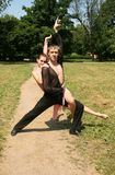 Openlucht dansen van het paar Royalty-vrije Stock Afbeeldingen