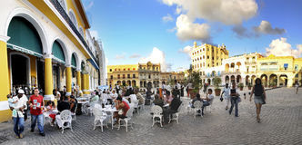 Openlucht de koffiepanorama van Havana, november 2008 Stock Foto