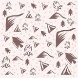 Openlucht het kamperen patroon vectorillustratie royalty-vrije illustratie